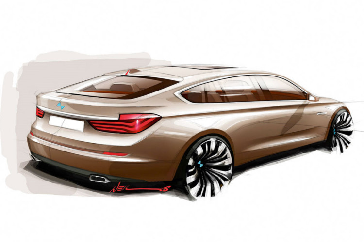 bmw concept 5 series gran turismo drawing by christopher weil 750x500